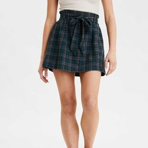 Green plaid paper bag tie high waist mini skirt